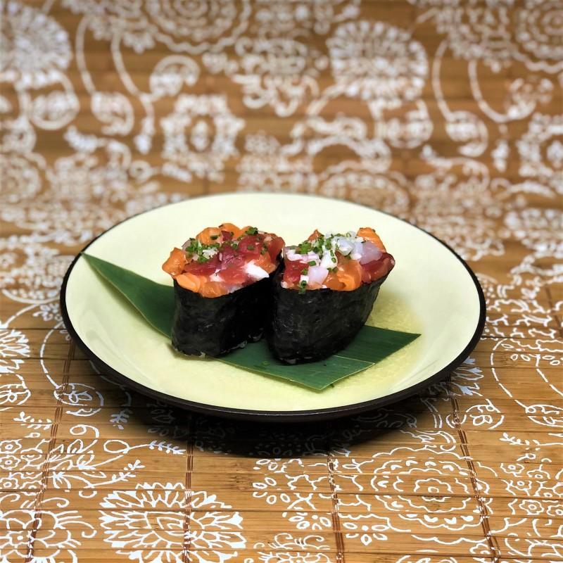 Sushi Gunkan Tartare cinq poissons par paire
